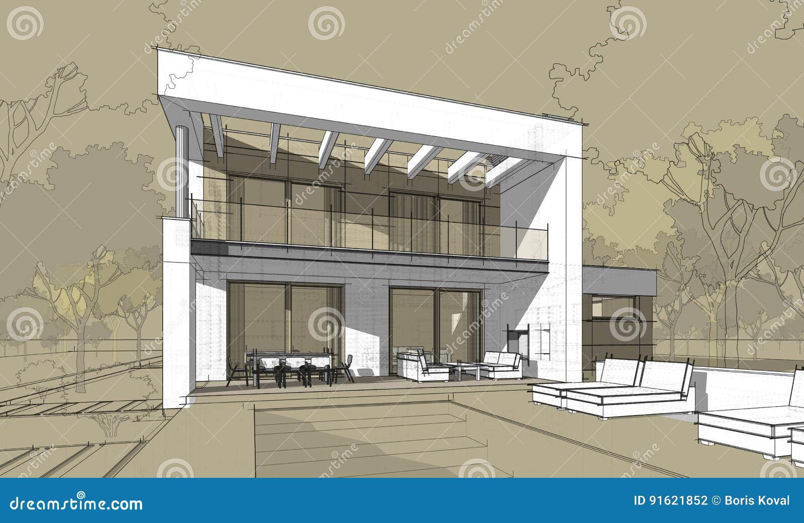 3d Rendering Sketch Of Modern Cozy House. Stock Illustration ...