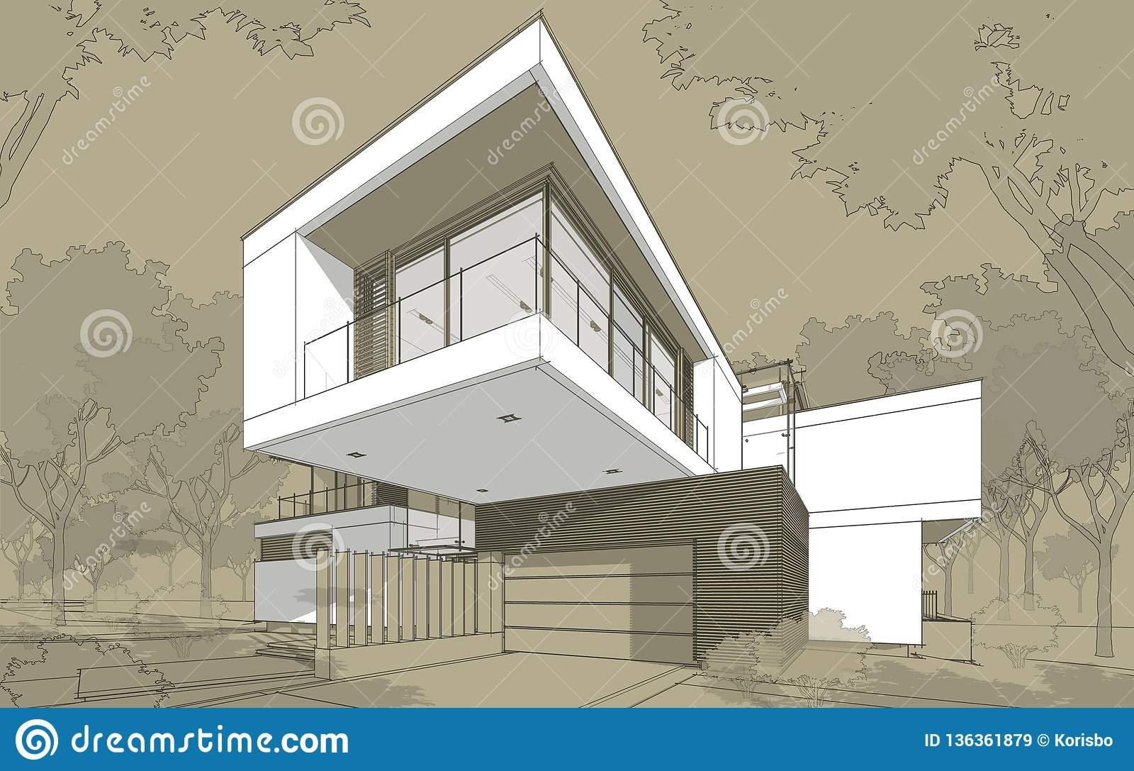 3d rendering sketch of modern cozy house with garage for sale or rent black line sketch with white spot and hand drawing entourage on craft background
