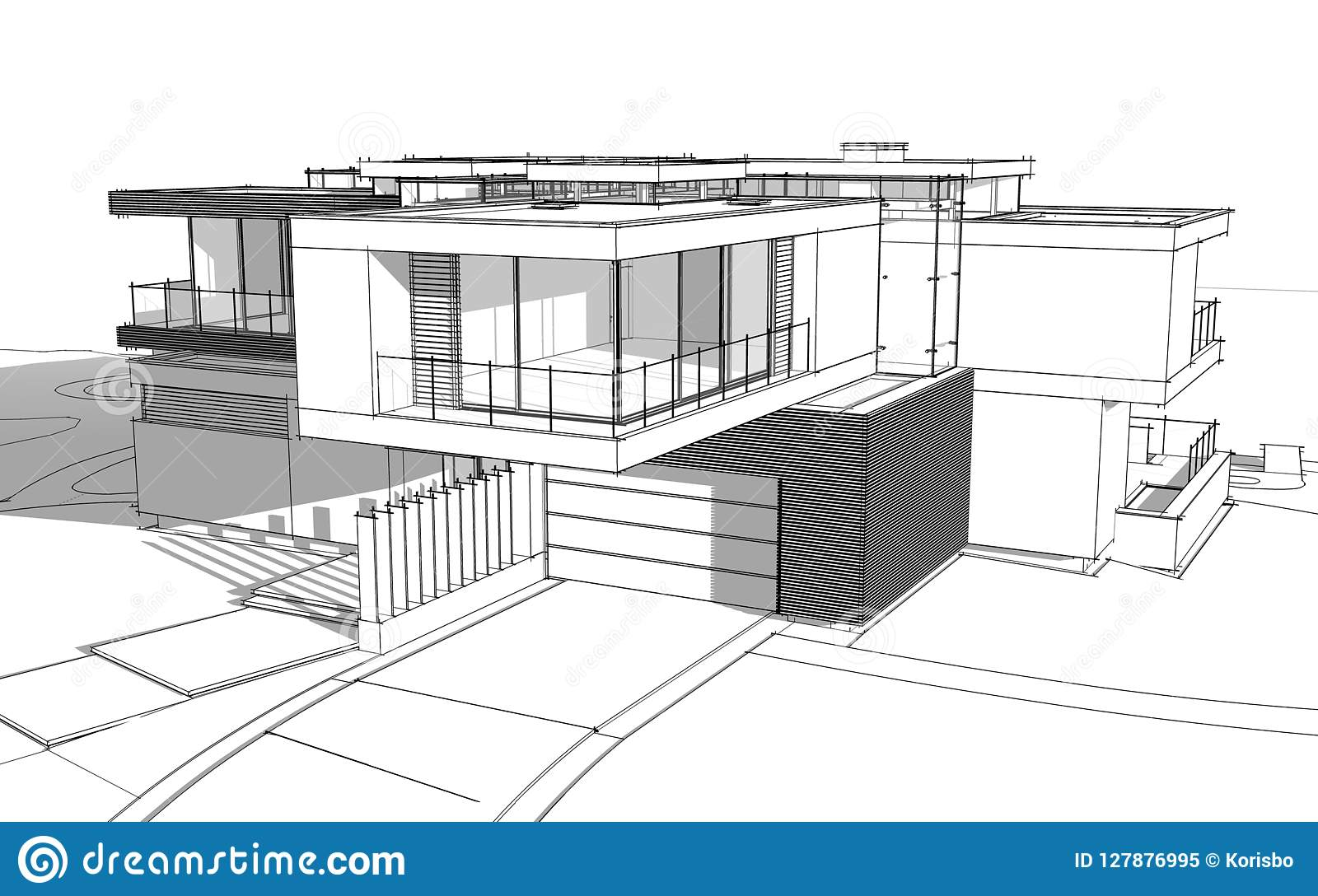 3d rendering sketch of modern cozy house by the river with garage for sale or rent black line sketch with soft light shadows on white background