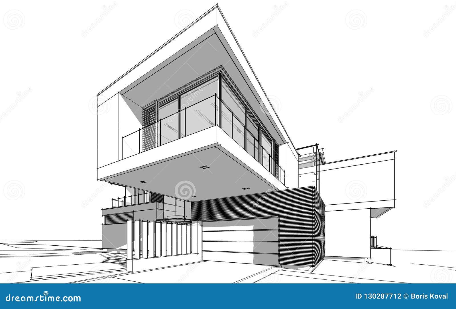3d Rendering Sketch Of Modern House Stock Illustration
