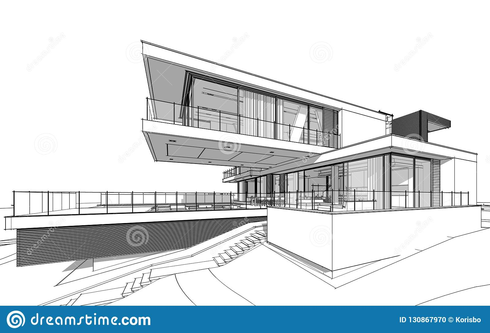 3d Rendering Sketch Of Modern House Stock Illustration Illustration Of Dwelling Contemporary 130867970