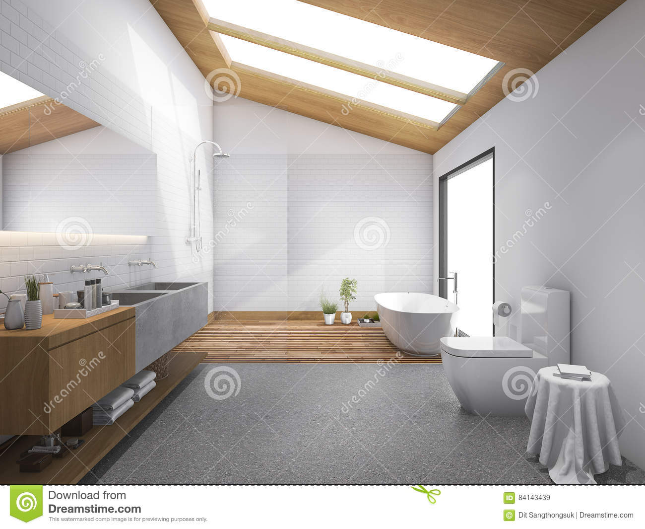 Download 3d Rendering Skylight Wood Roof With Modern Design Bathroom And  Toilet Stock Illustration   Illustration