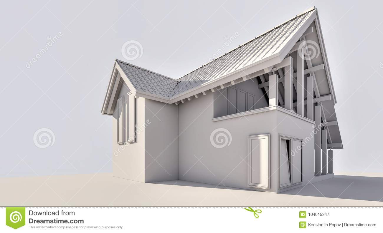 The Country House Company 3d rendering. a small country house. stock image - image of