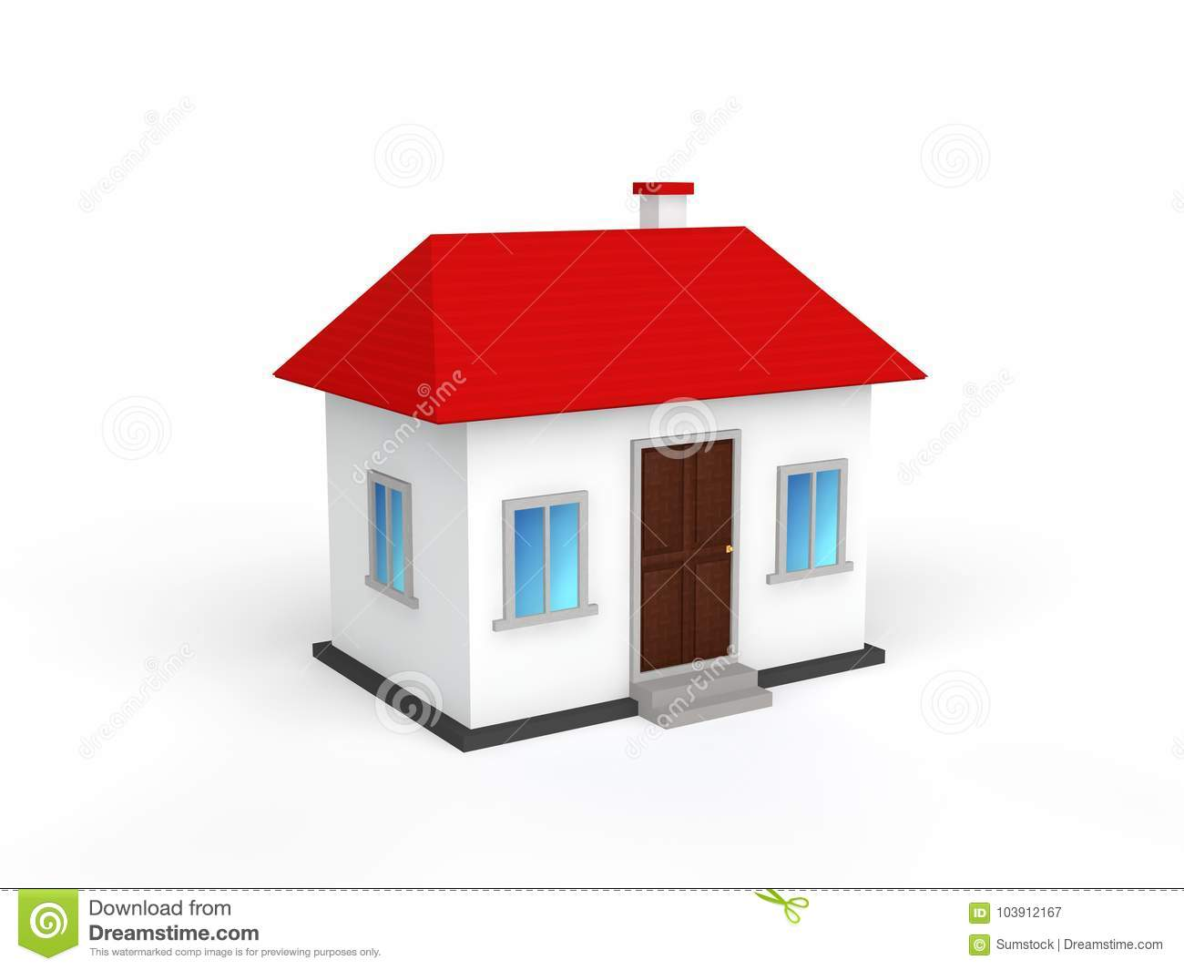 3d Small House Model Isolated On White Background Stock