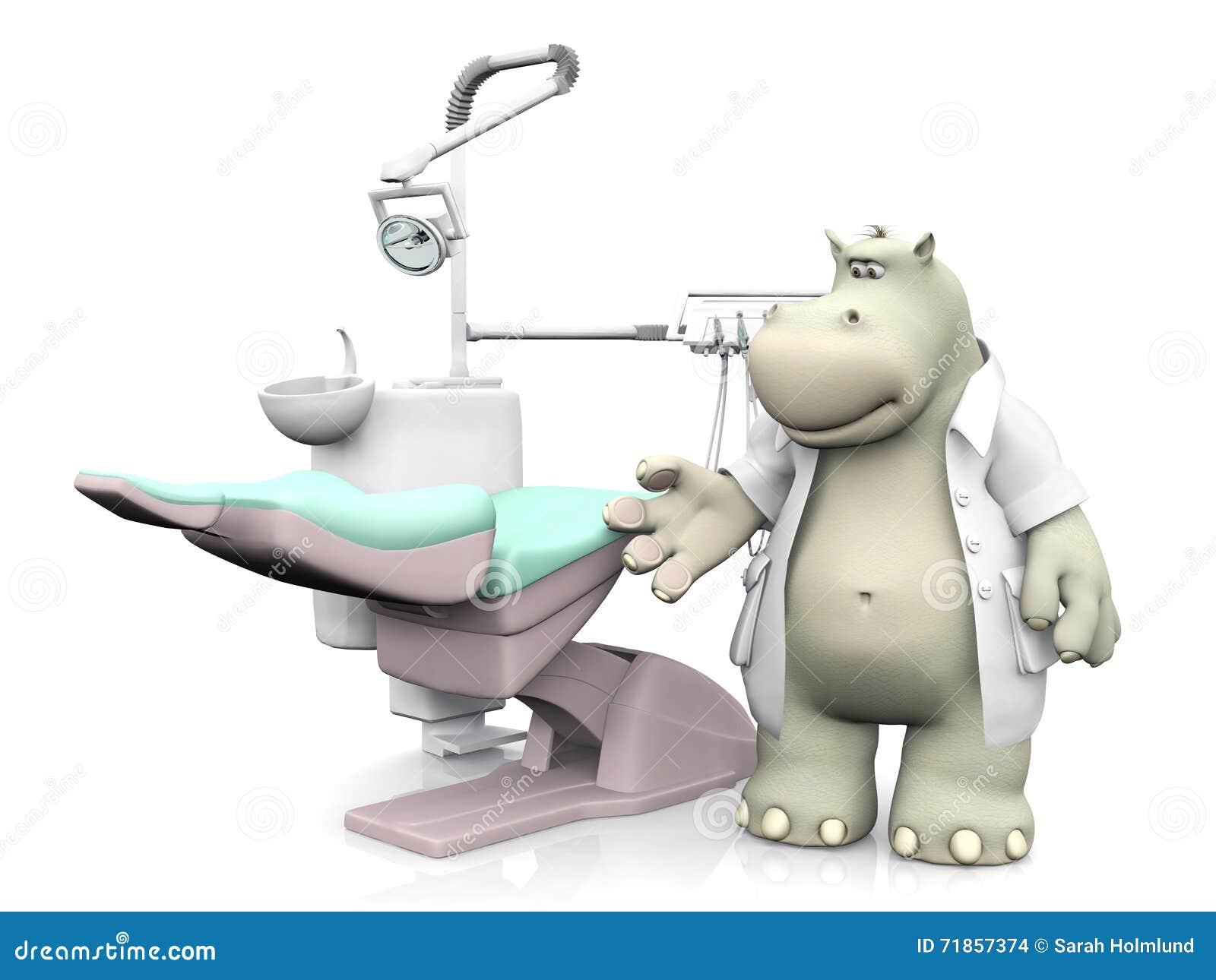 Cartoon Chair Dental Dentist Hippo ...