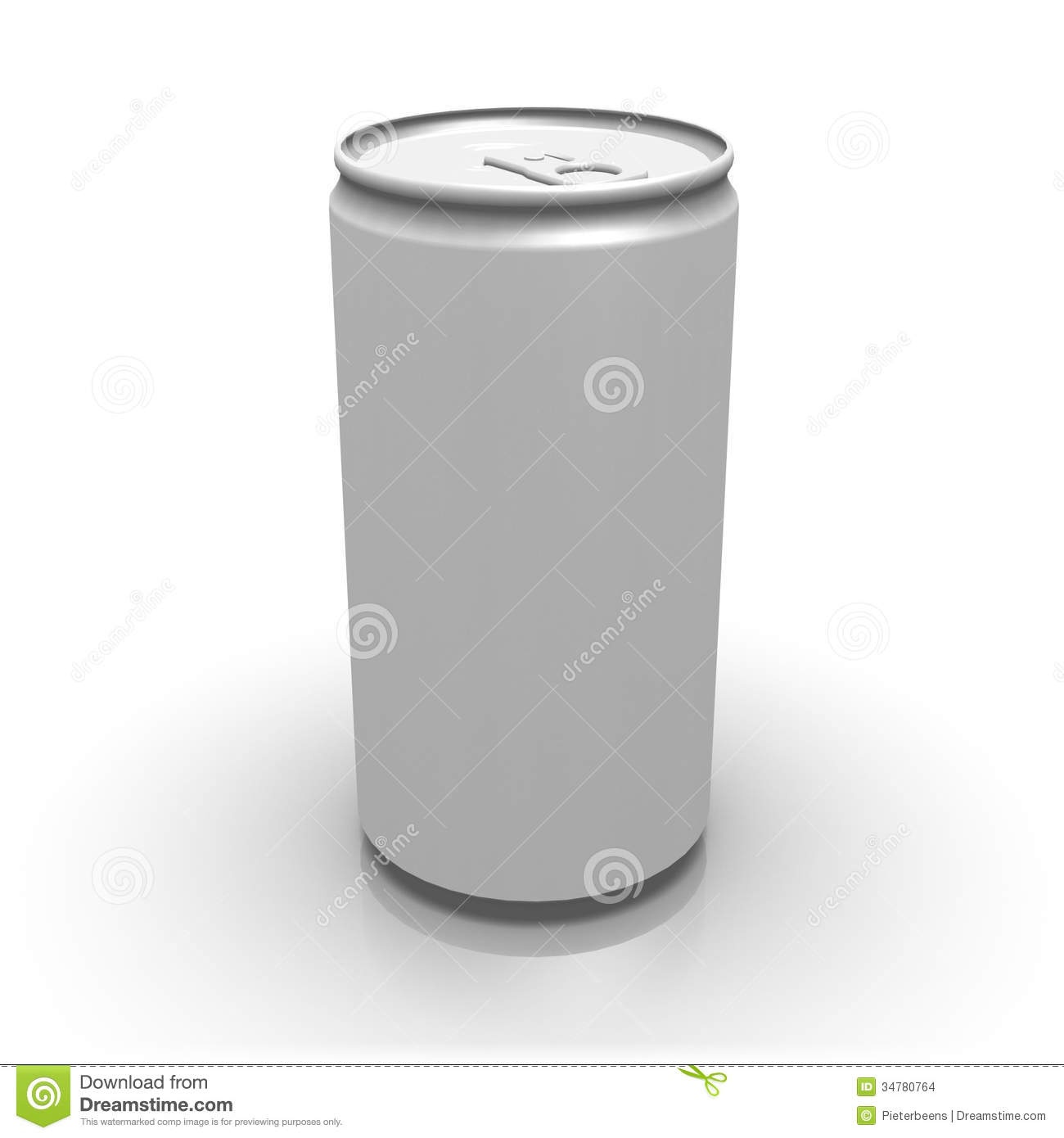 3d rendering of soda can on white background stock illustration
