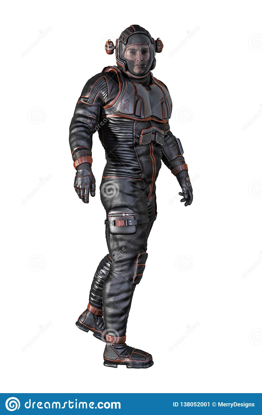 Man in Spacesuit Isolated