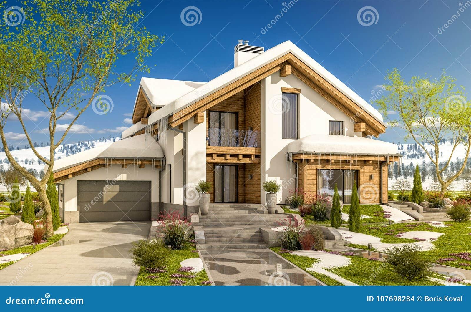 3d rendering of spring modern cozy house in chalet style stock illustration illustration of - Moderner chalet stil ...