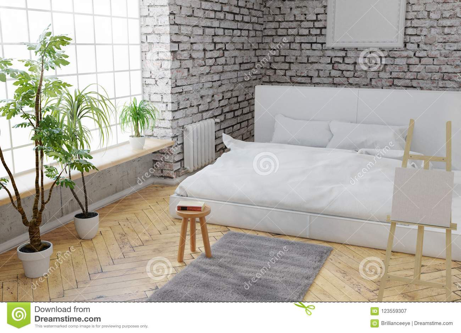 3d Rendering Sypialnia Z Białą Cegły ścianą I Parkietową