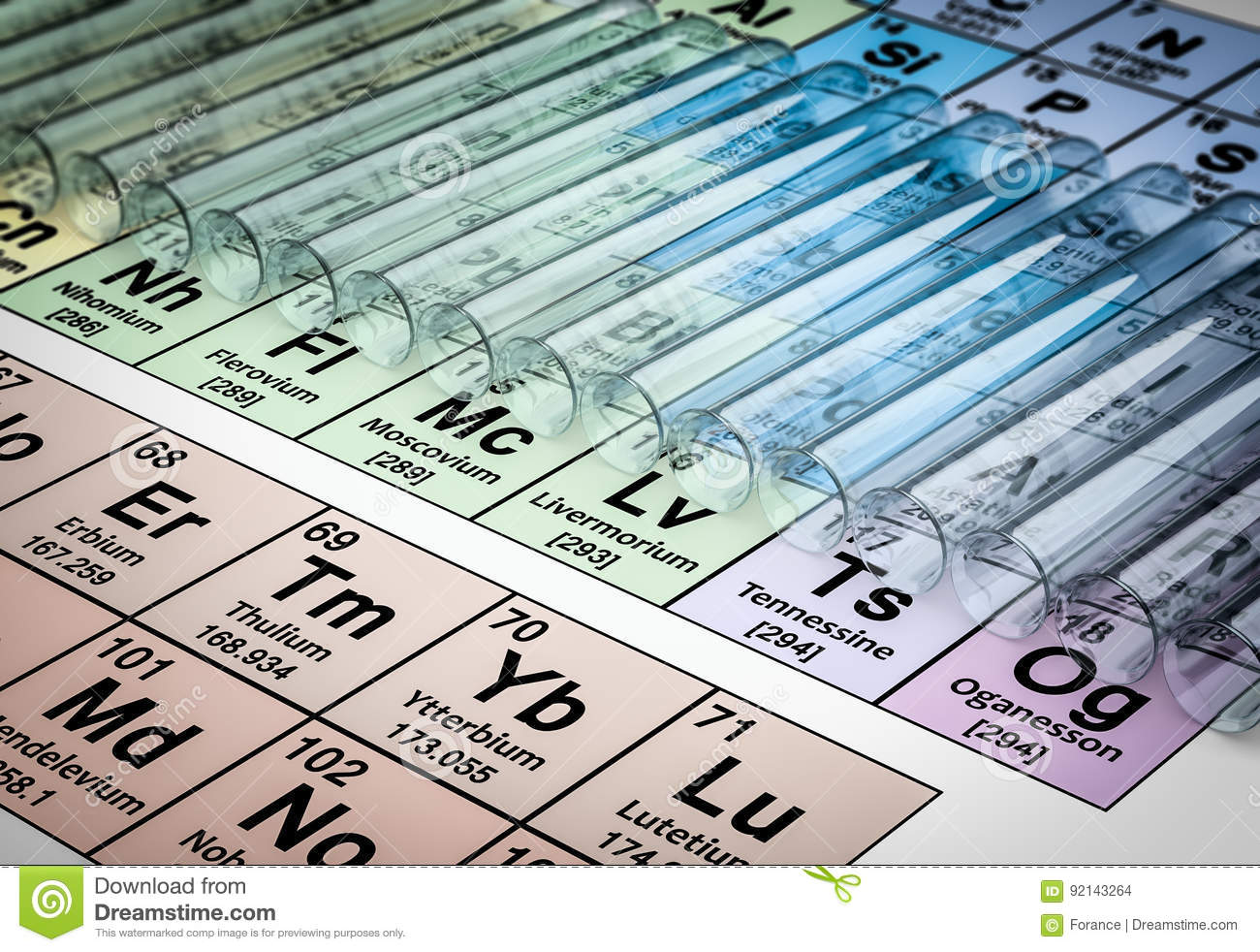 3d Rendering Of Test Tubes On Color Periodic Table Background Stock