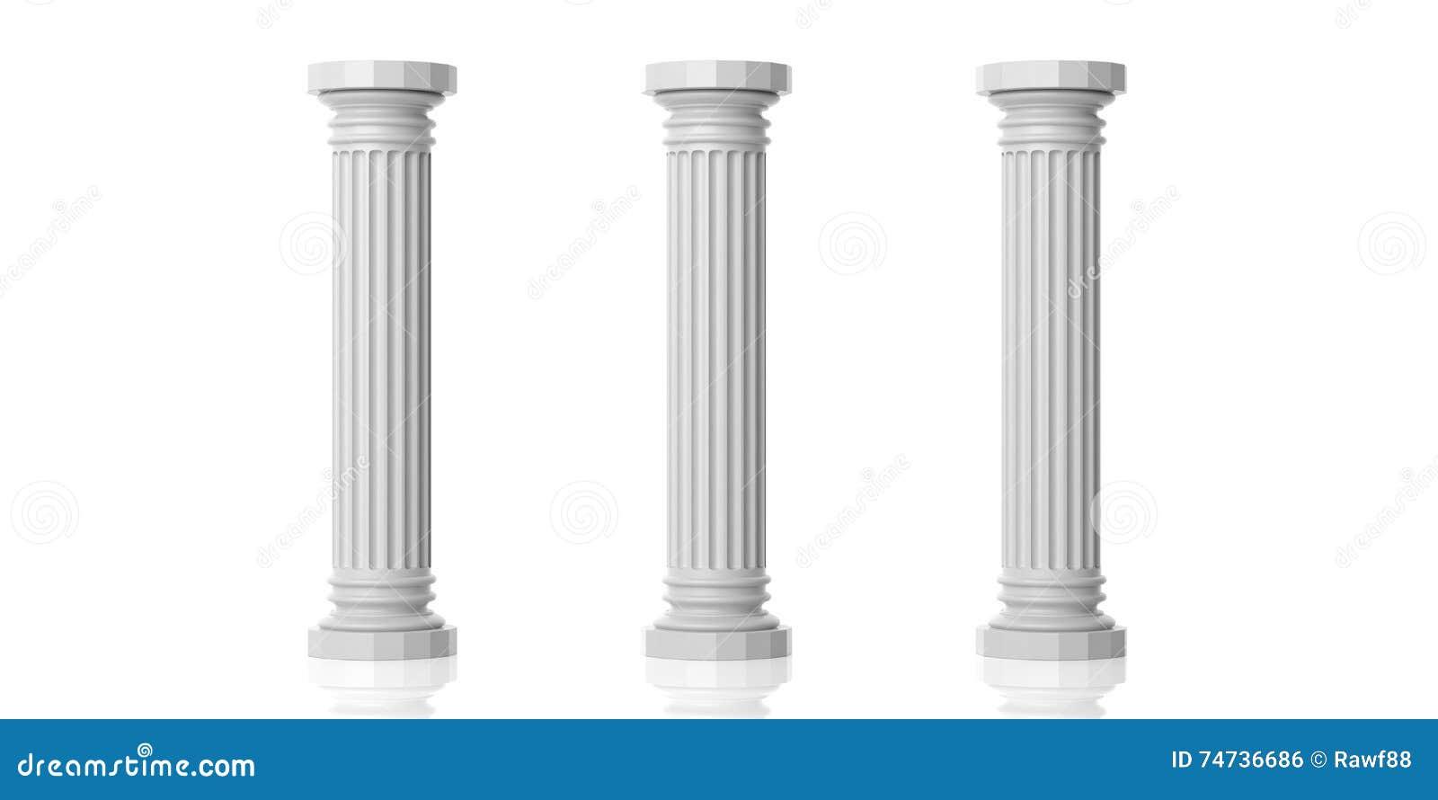 White Metal Pillars : Rendering of three storey light metal rack isolated on the