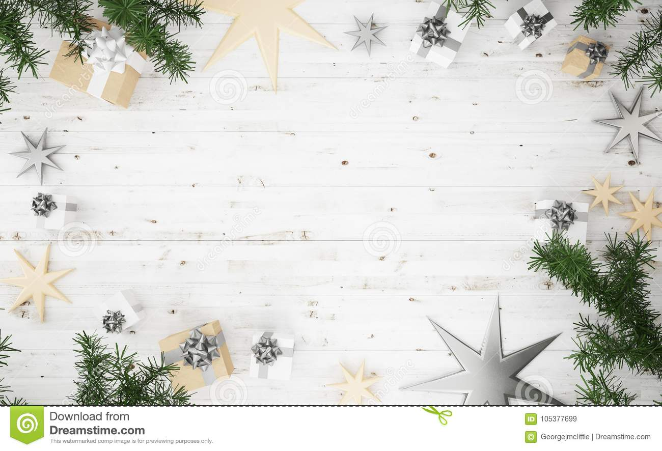 0771cb900367 3d rendering top view of christmas composition: silver and golden gifts,  knnitted blanket, stars and on wooden white background. More similar stock  images