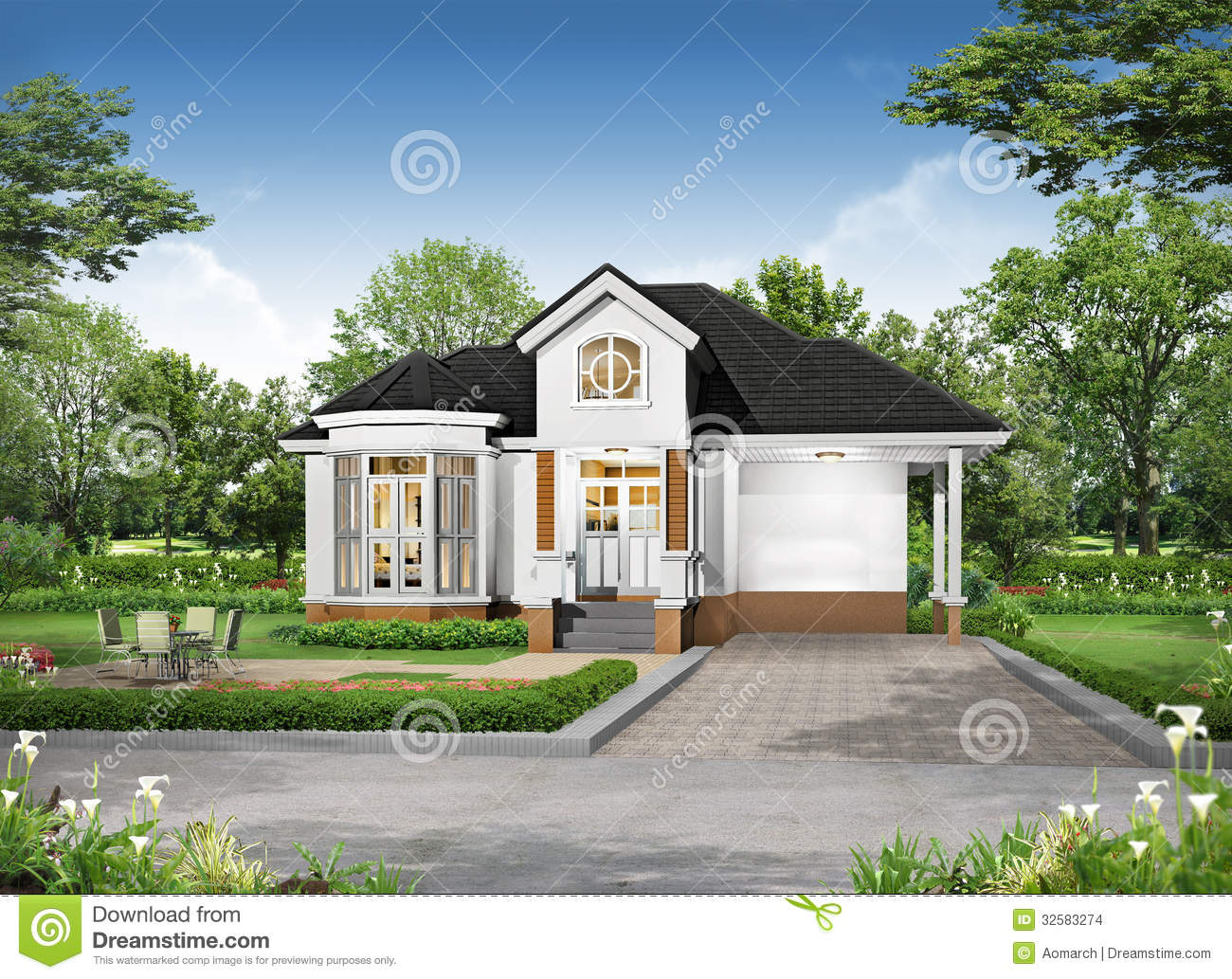 3d Rendering Of Tropical House Exterior Stock Photo