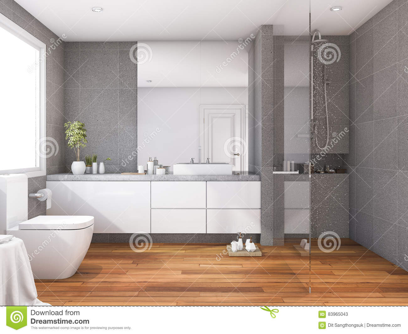 3d Rendering Tropical And Modern Style Wood Bathroom Near Window ...