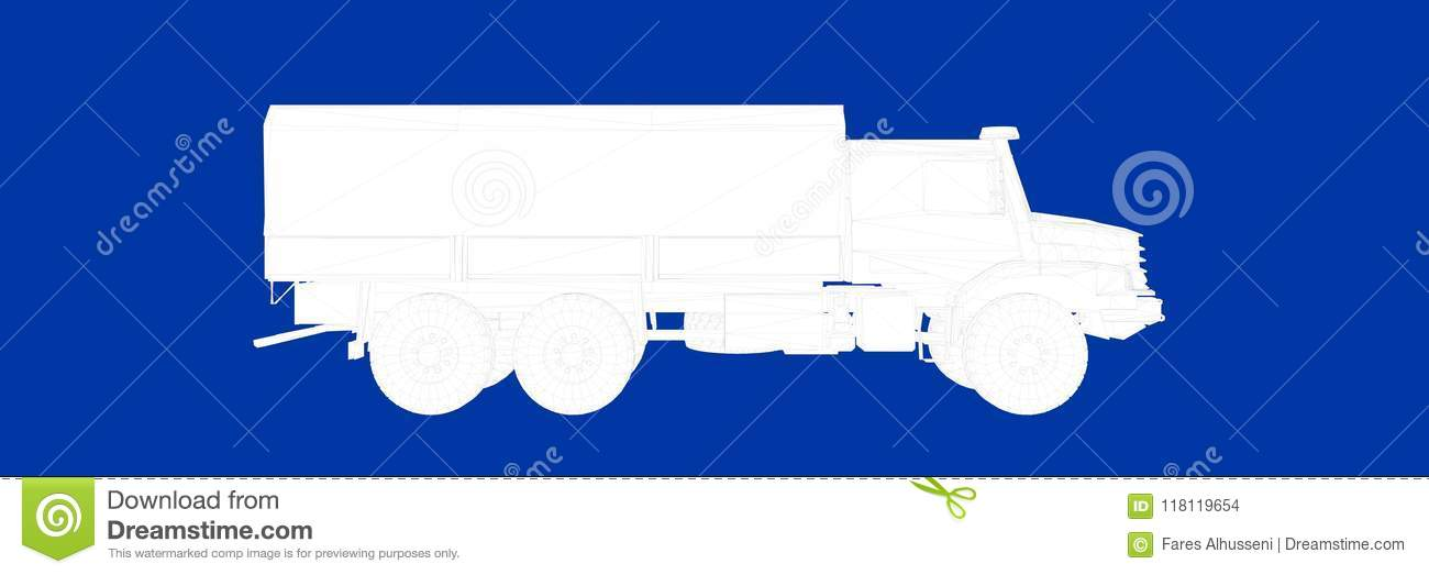 3d rendering of a truck on a blue background blueprint