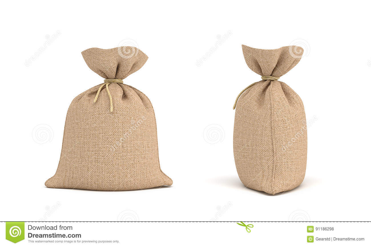 Download 3d Rendering Of Two Canvas Sacks Tied With A Rope One Sack In Front