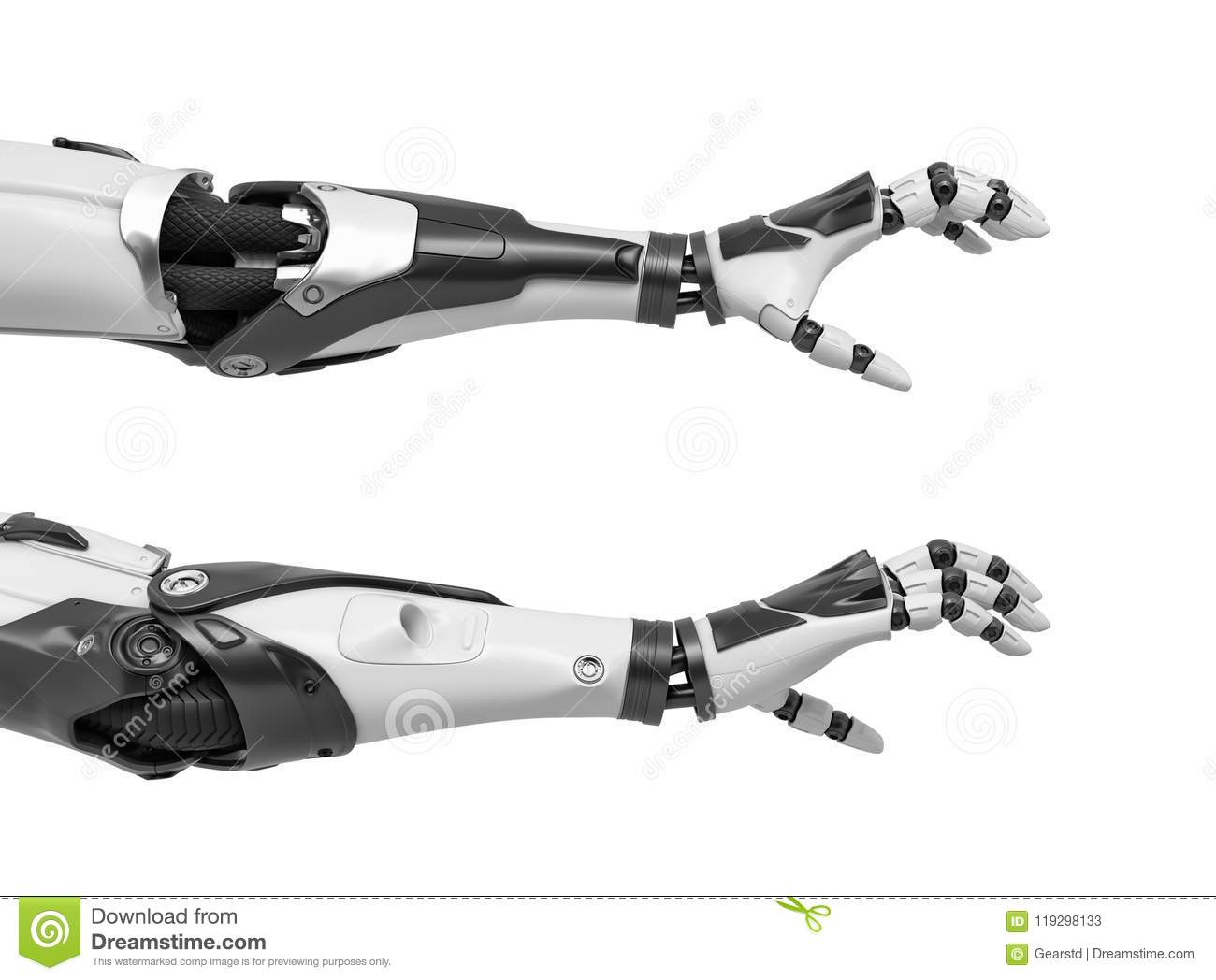 3d rendering of two robot arms with hand fingers in grabbing motion on white background.