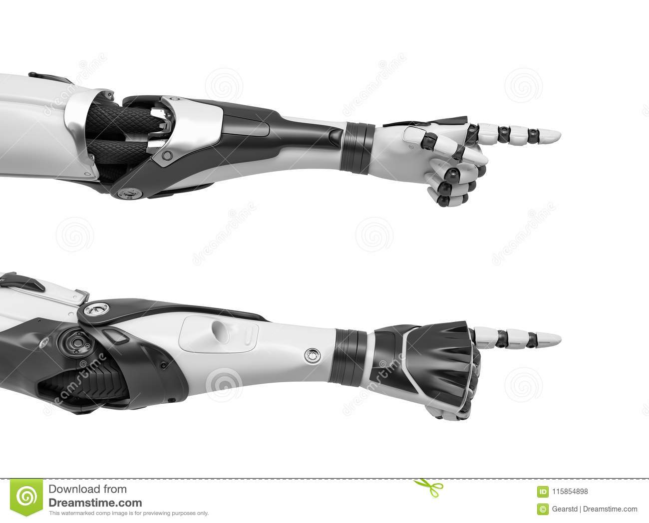3d rendering of two robots hands with pointing fingers as shown from the palm side and the back of the hand.