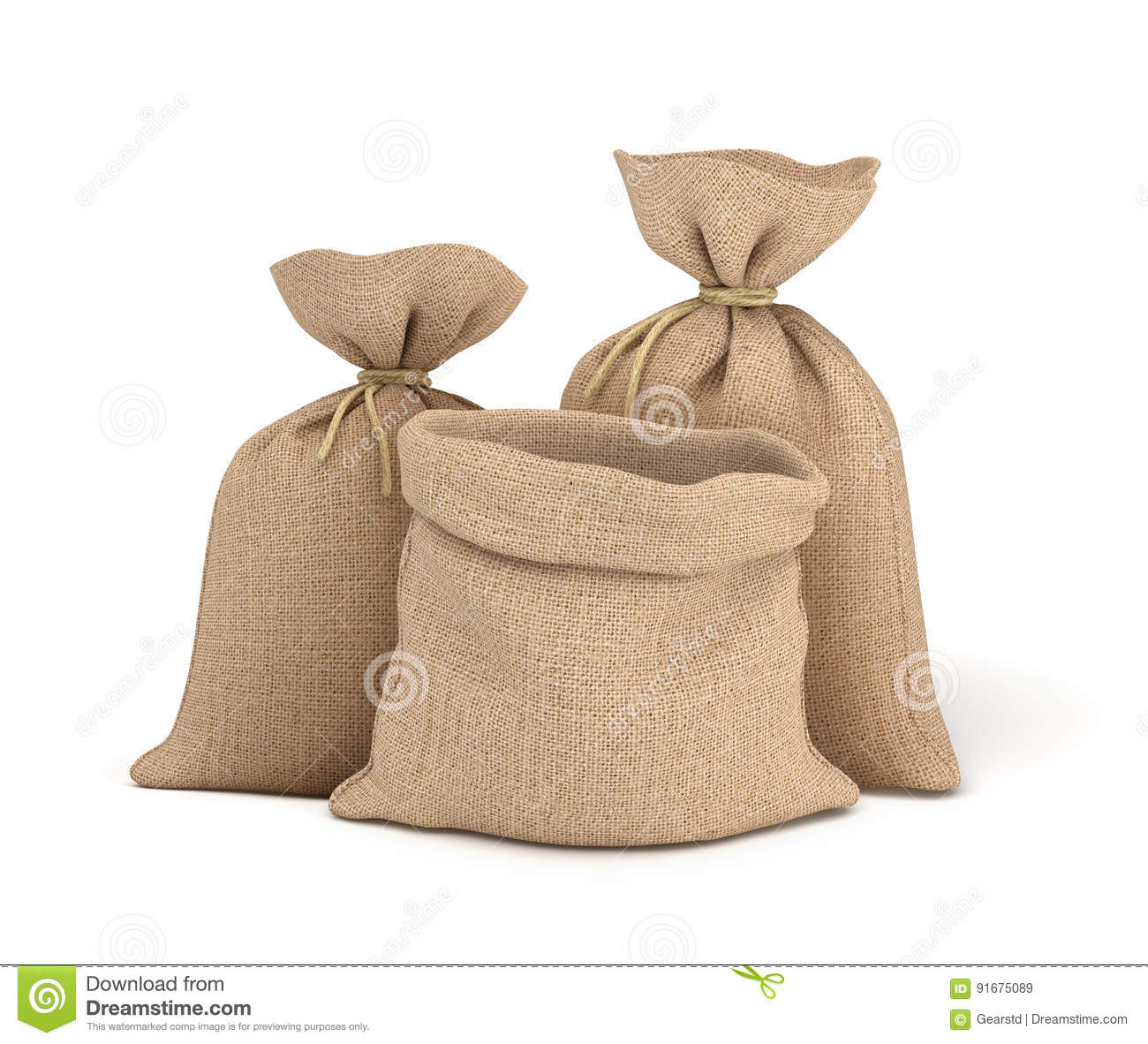 3d rendering of two tied canvas sacks and open sack in front view isolated on white background.