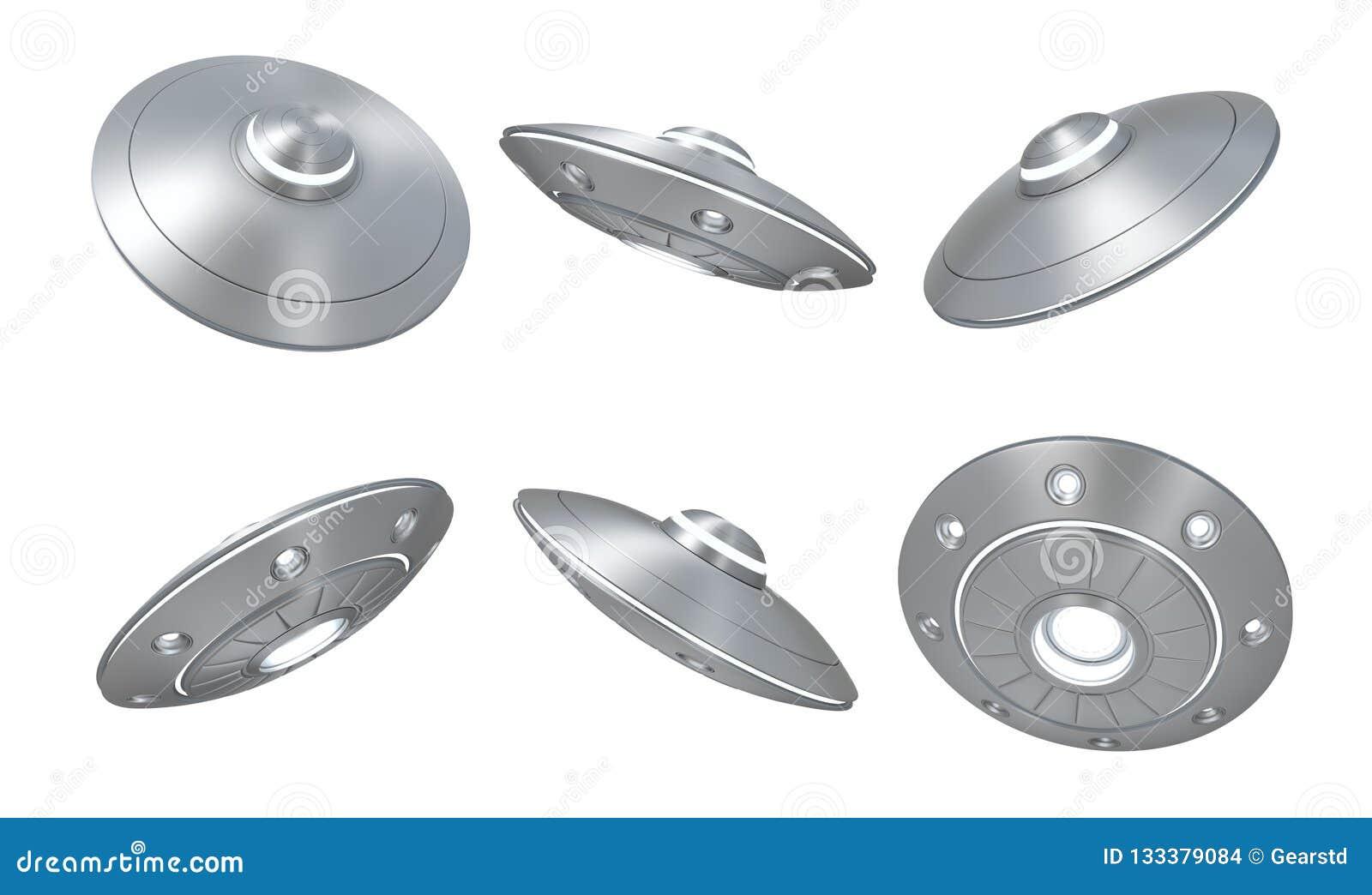 3d rendering ustawiający srebny metalu ufo odizolowywający na białym tle