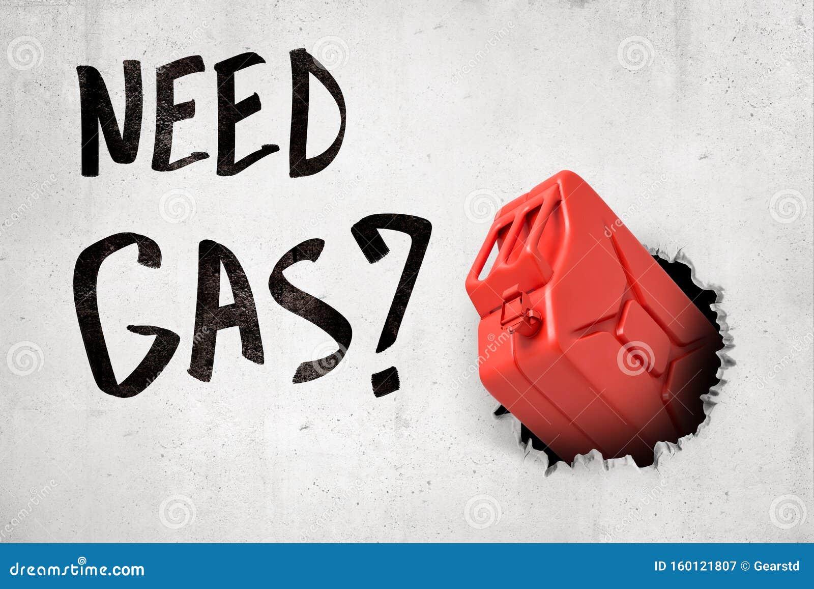 3d-rendering van rode benzine kan de witte wand doorbreken met Noodgas-teken op witte achtergrond