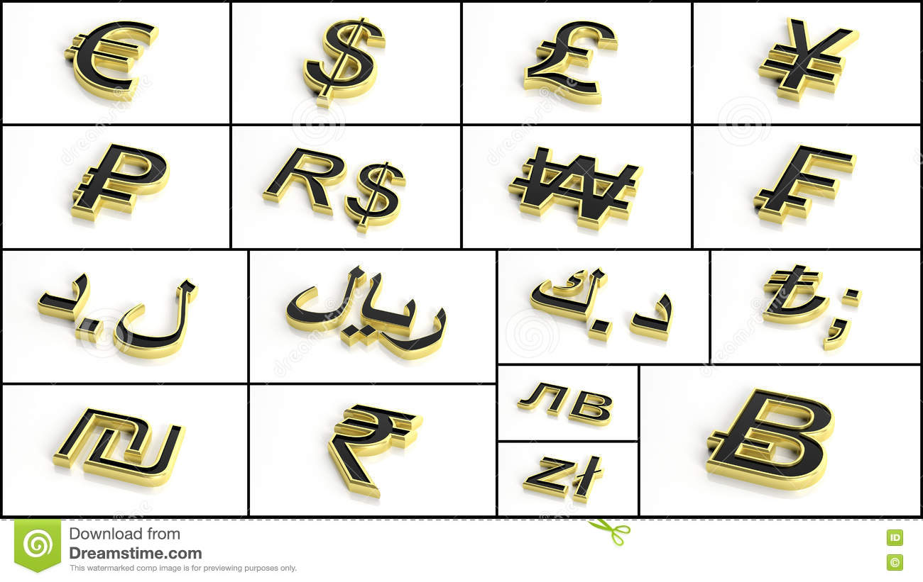3d Rendering Various Currency Symbols Collage Stock Illustration