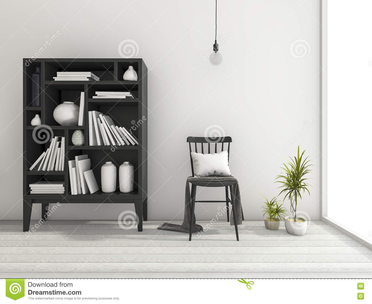 Download 3d Rendering Vintage Minimal Living Room With Shelf Decor And Beautiful  Design Chair Near The