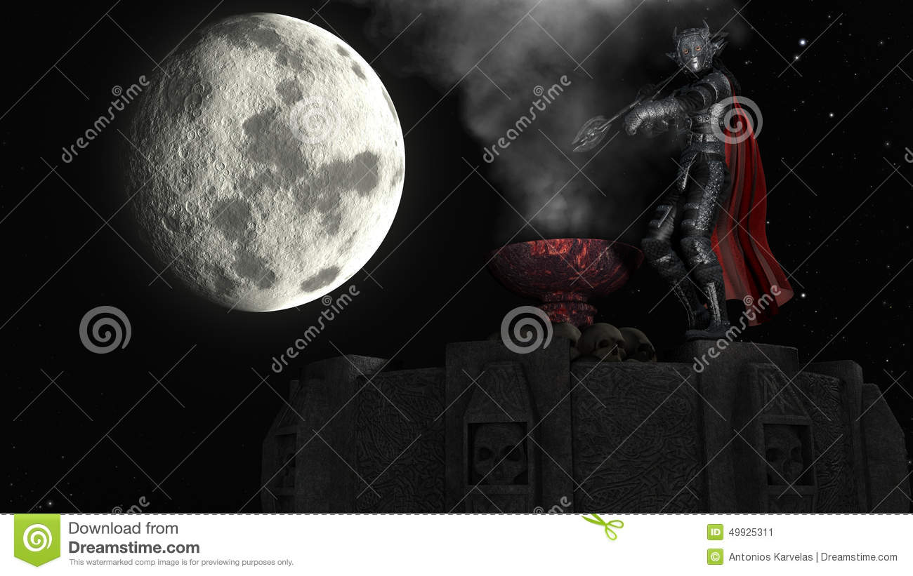 3D rendering of Warrior on Tower at moon background
