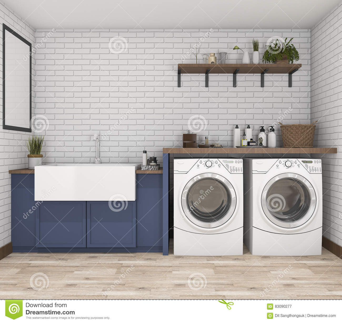 Vintage Laundry Room Pictures 3D Rendering Washing Machine In Vintage Laundry Room Stock