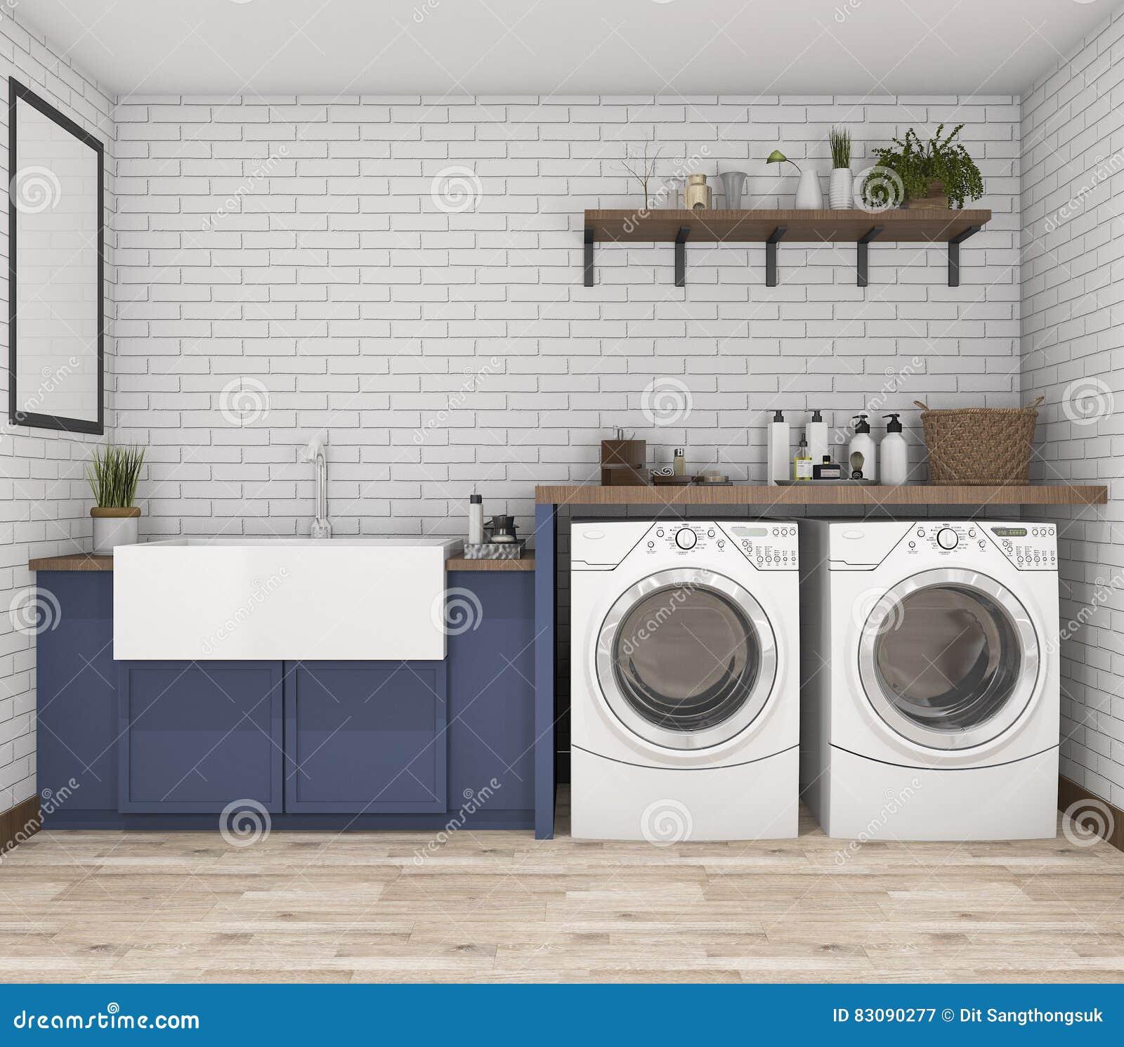 Vintage Laundry Room Amusing 3D Rendering Washing Machine In Vintage Laundry Room Stock Design Decoration