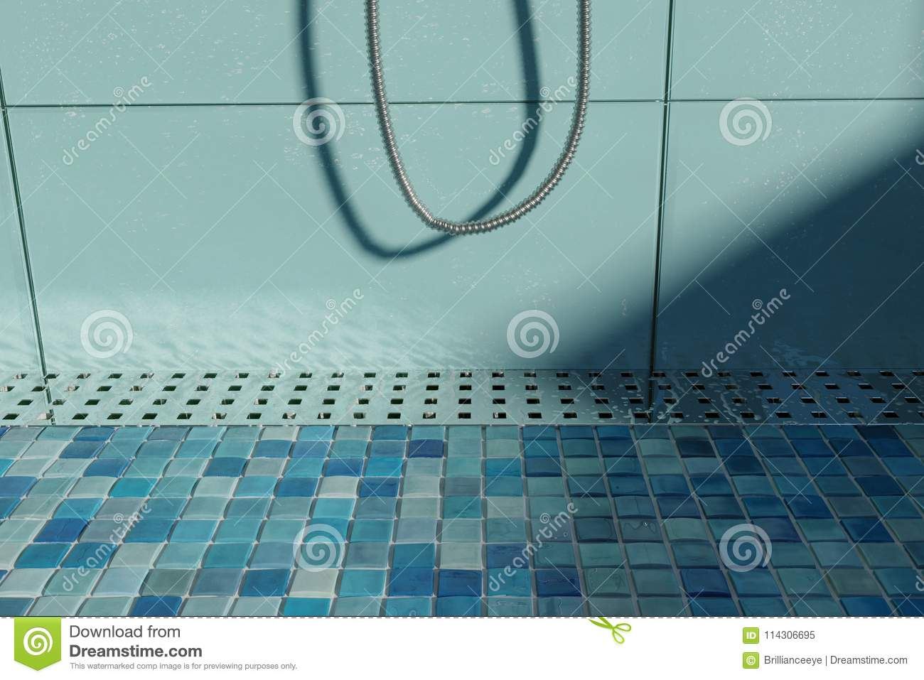 3d Rendering Of Water Drops On Metal Gutter On Shower Tray With ...