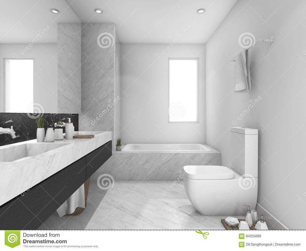 3d Rendering White And Black Marble Toilet And Bathroom Stock ...
