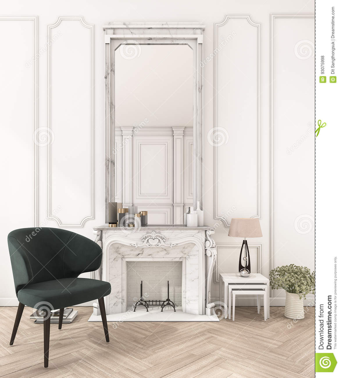 17d Rendering White Classic Wall In Make Up Room Stock Illustration