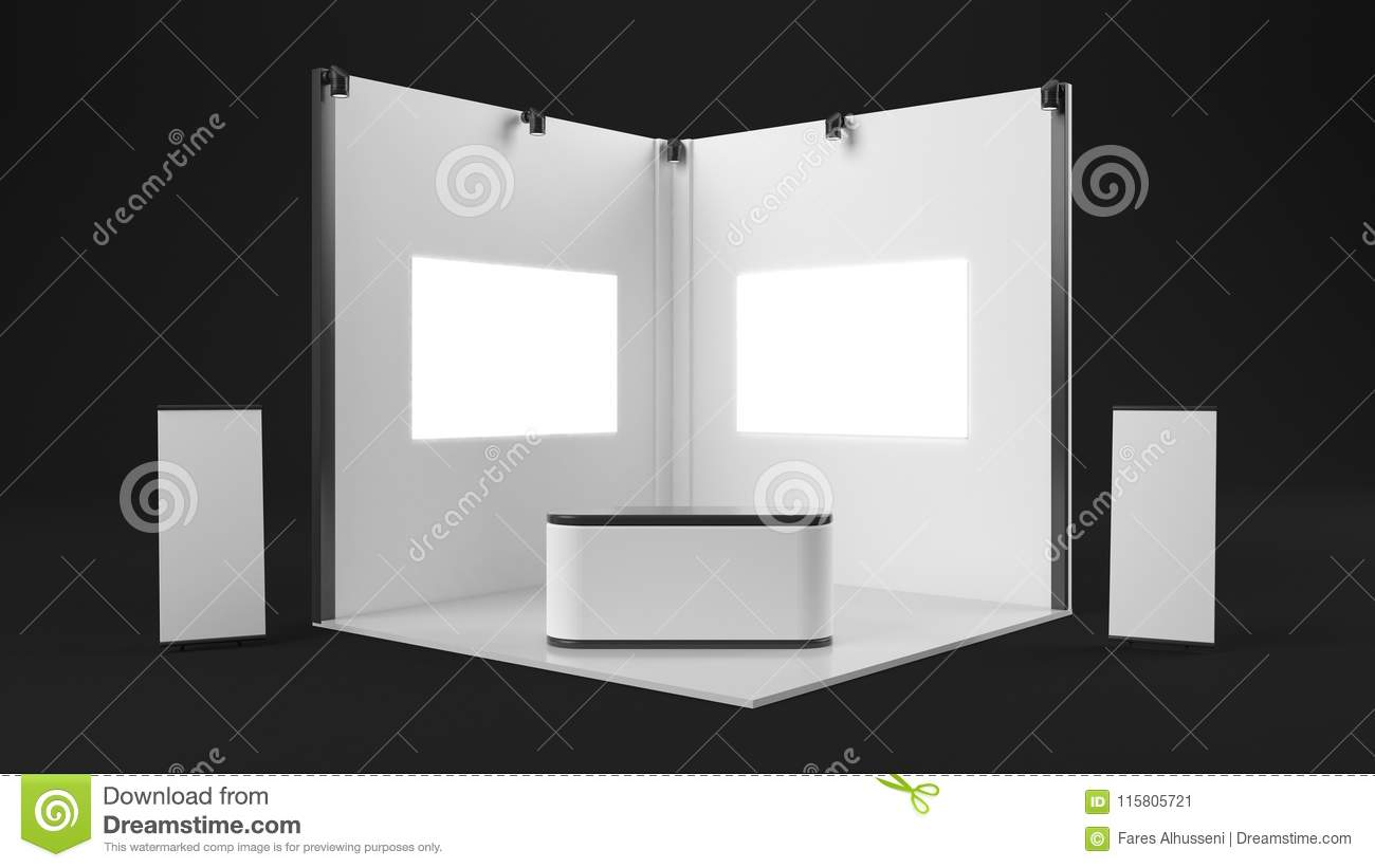 Exhibition Stand White : D rendering of a white exhibition stand with light for different