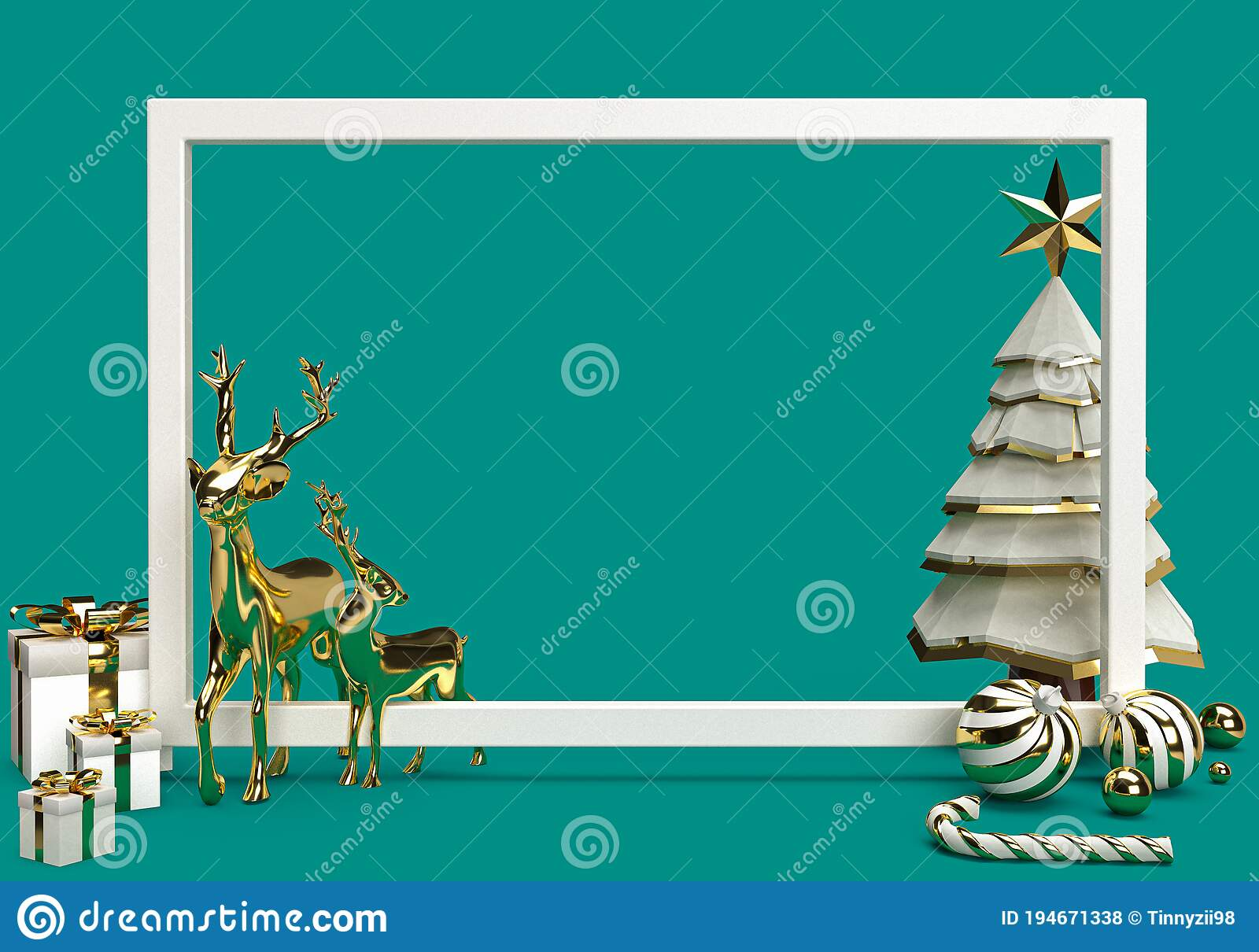 3d Rendering Of White Frame With Reindeer Christmas Tree Gift Box Candy Cane And Christmas Ball 3d Minimal Concept Blank Space Stock Illustration Illustration Of Space Card 194671338