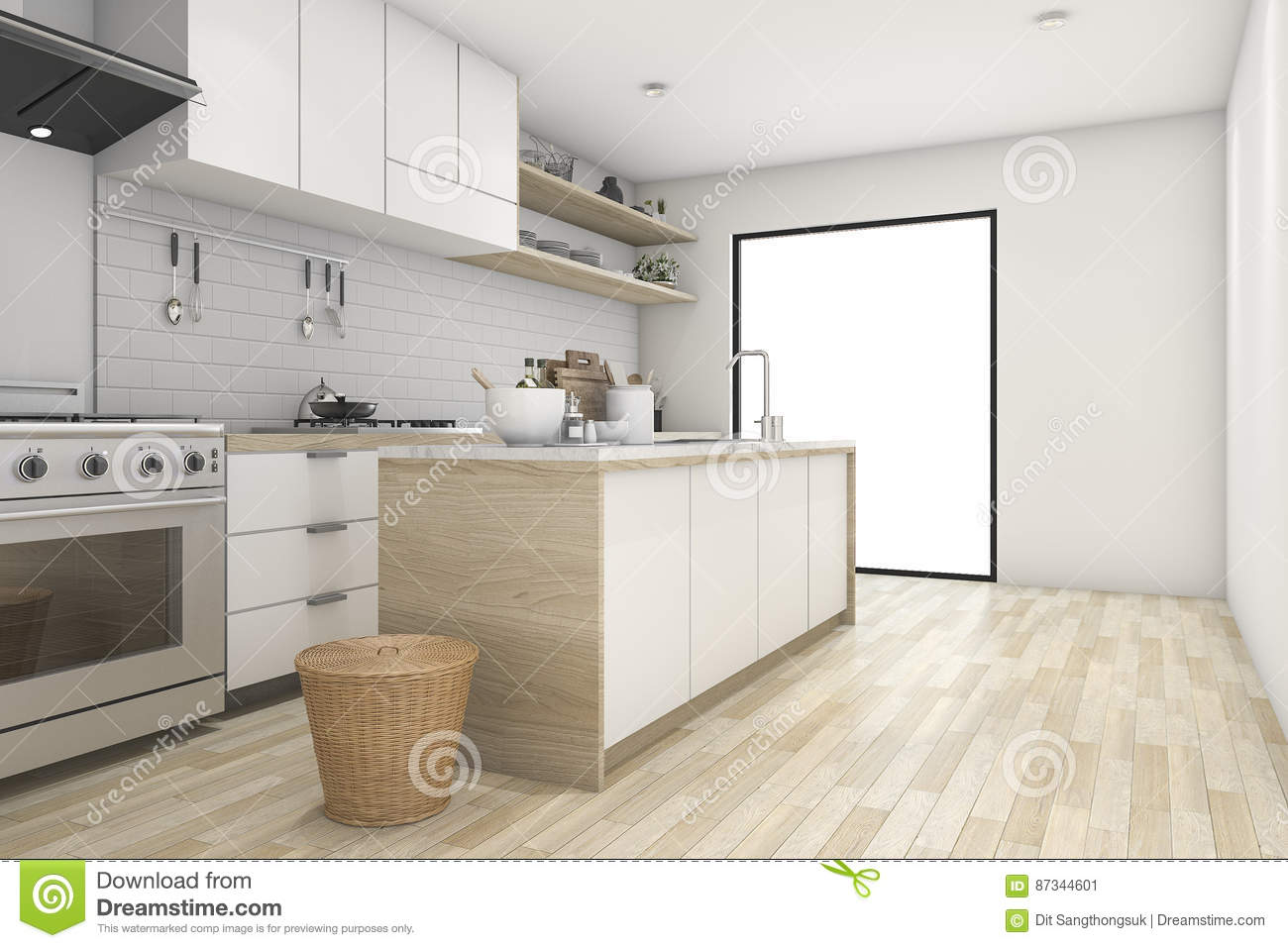 3d Rendering White Minimal Kitchen With Contemporary Wood Stock ...