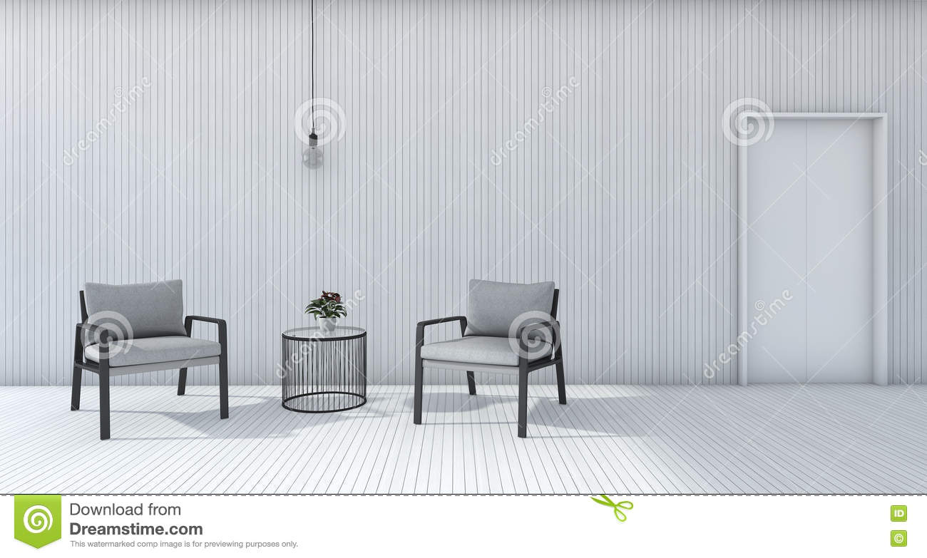 3d Rendering White Minimal Living Room With Armchair And Lamp Stock ...