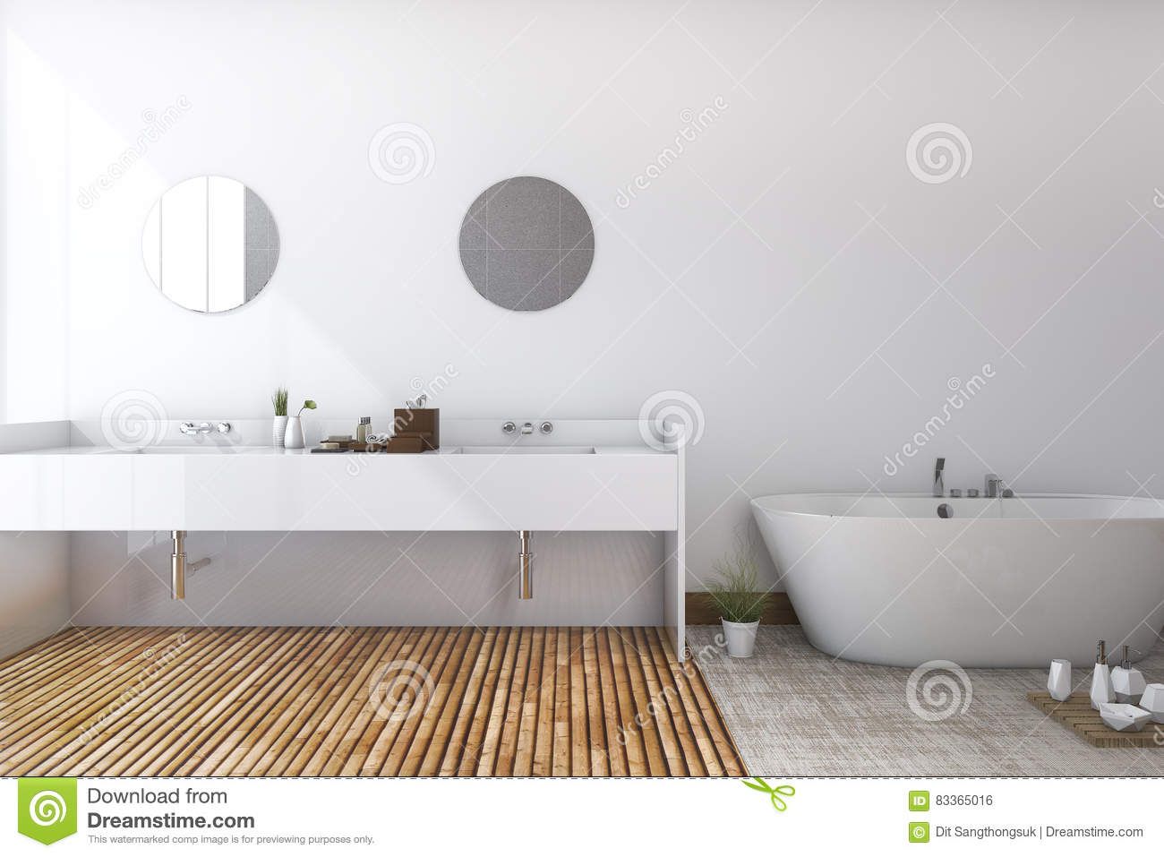 3d Rendering White Minimal Toilet And Bathroom With Wood Floor Stock ...