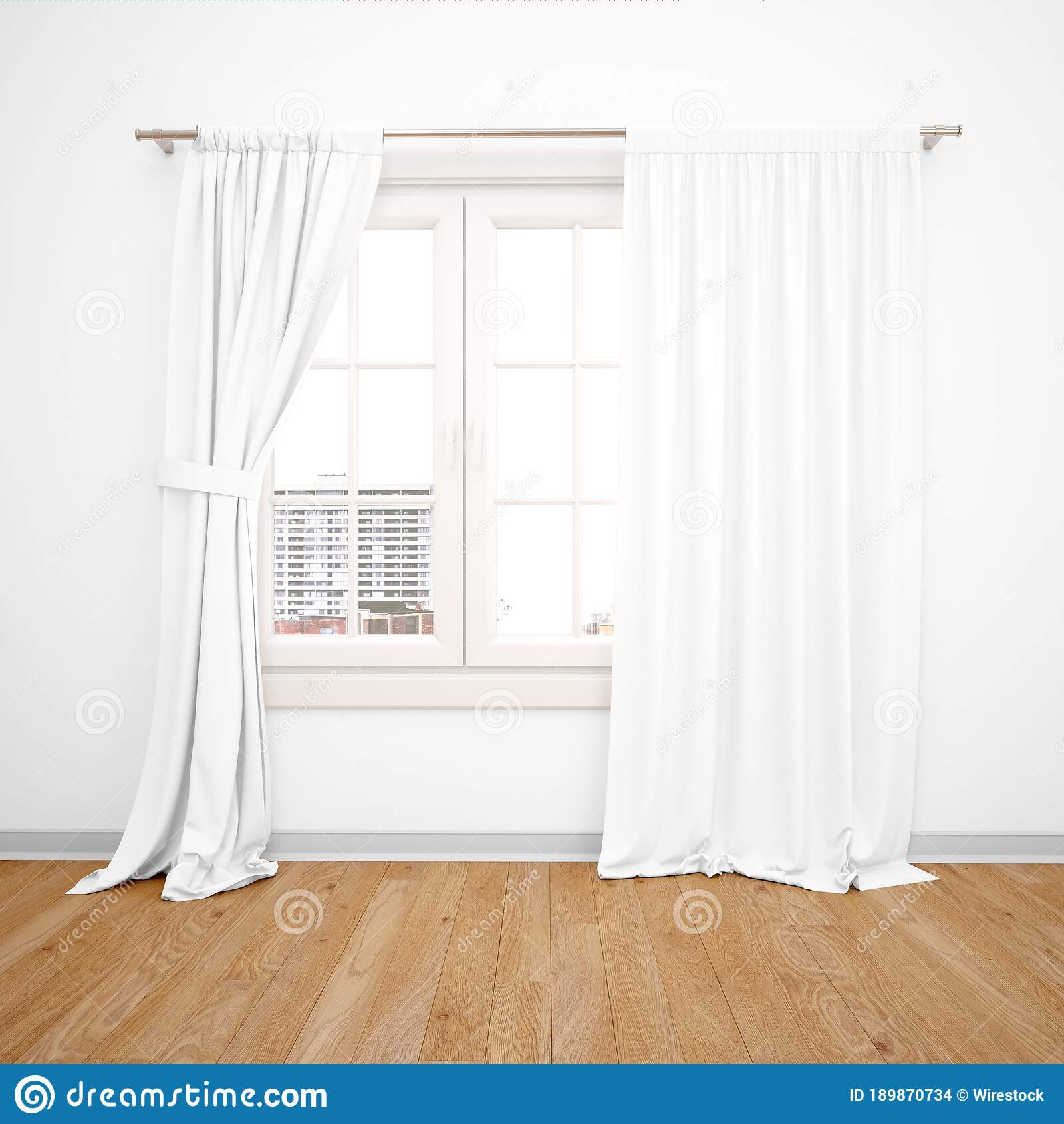 3d Rendering Of White Windows With Long Curtains Over It Under The Lights Stock Illustration Illustration Of Room Construction 189870734