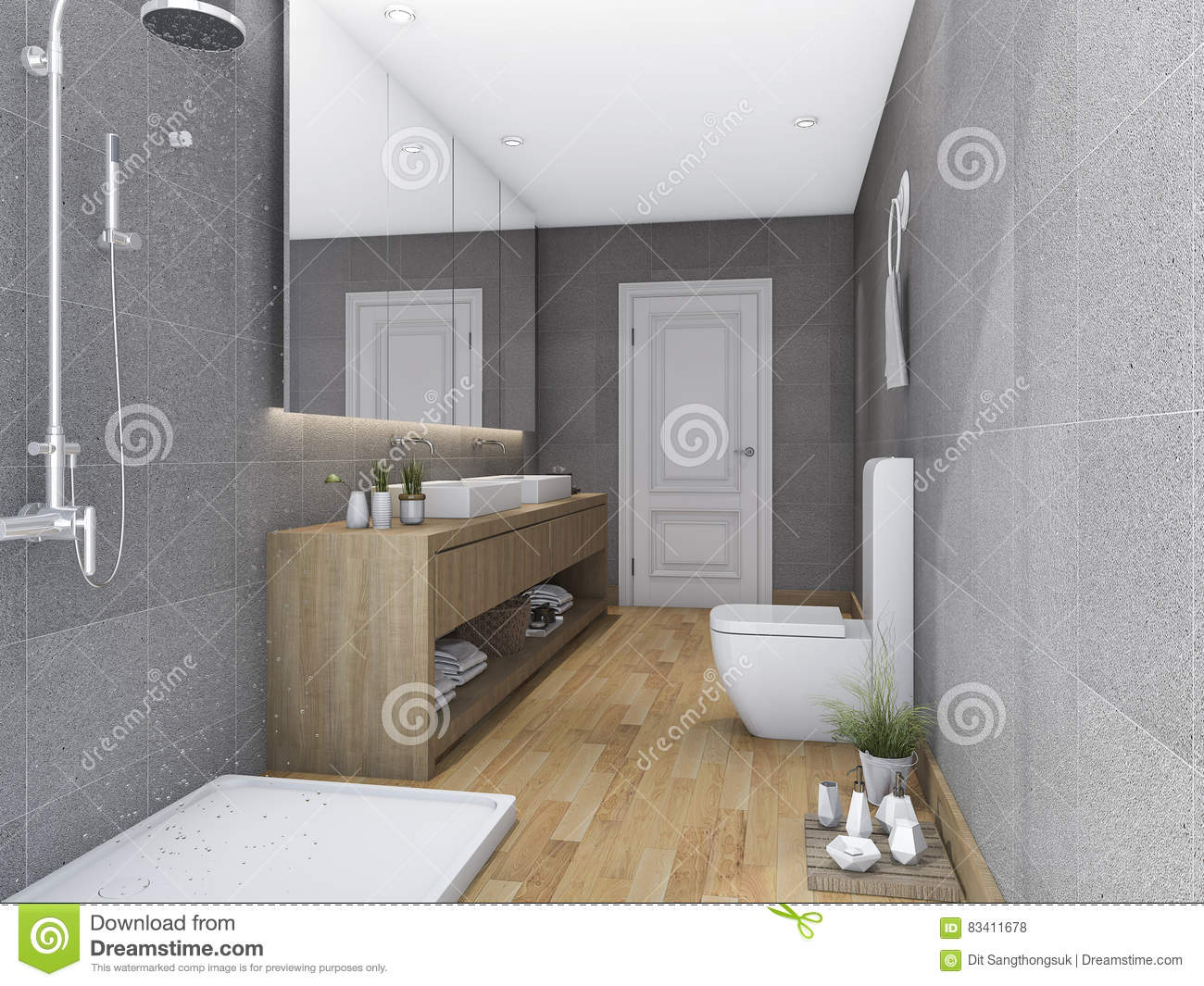 3d rendering wood bright bathroom with modern decor for 3d bathroom decor