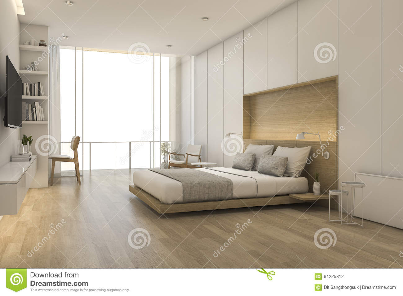 Download 3d Rendering Wood Minimal Style Bedroom With View From Window  Stock Illustration   Illustration Of