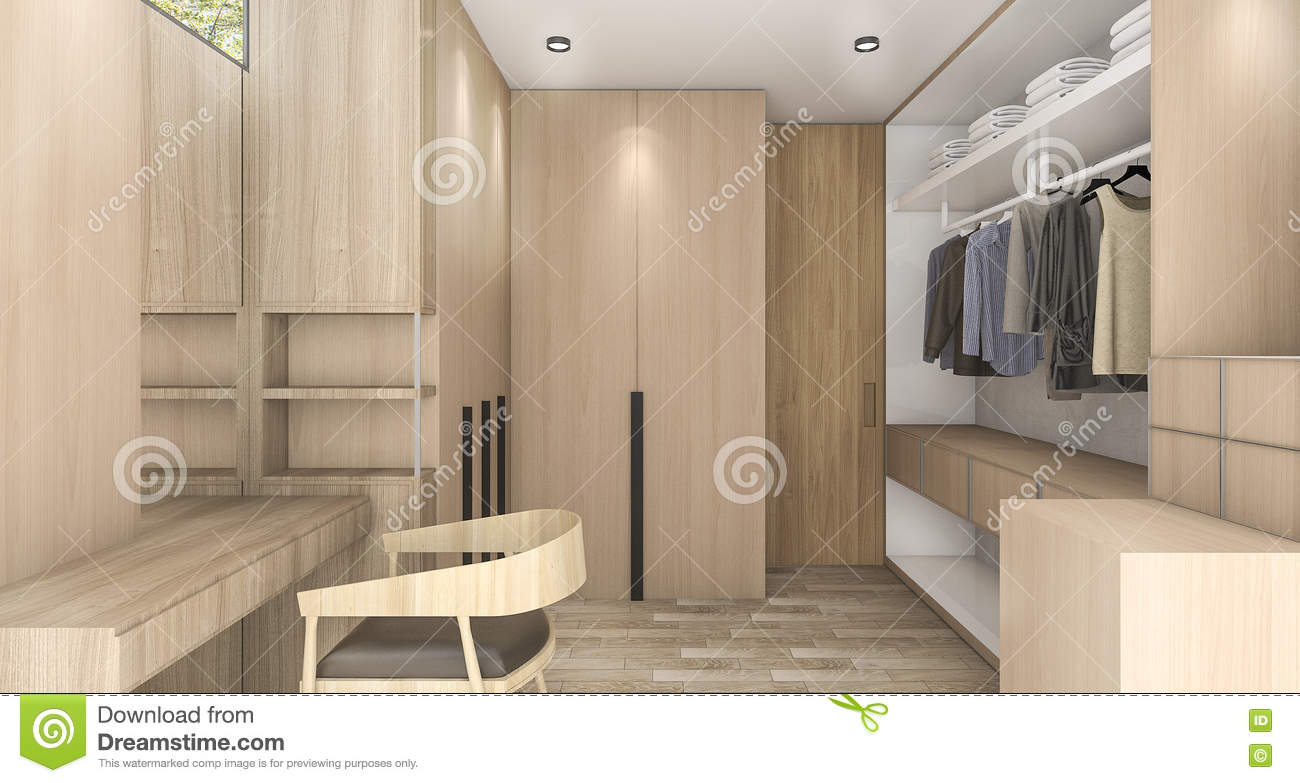 3d Rendering Wood Walk In Closet With Daylight From Outside