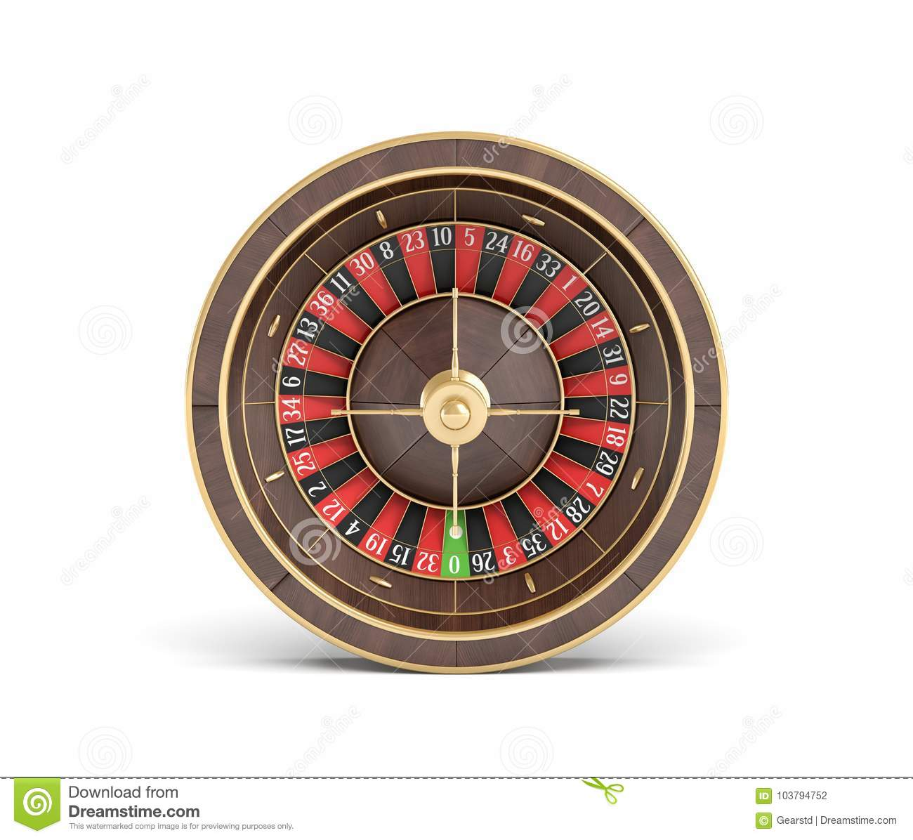 3d rendering of an wooden casino roulette with golden decorations on white background.