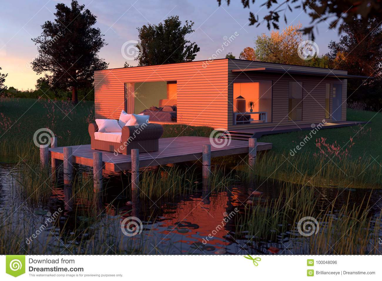 3d Rendering Of Wooden House With Flat Roof At Nature Near By Po Stock  Illustration   Illustration Of Forest, Beautiful: 100048096