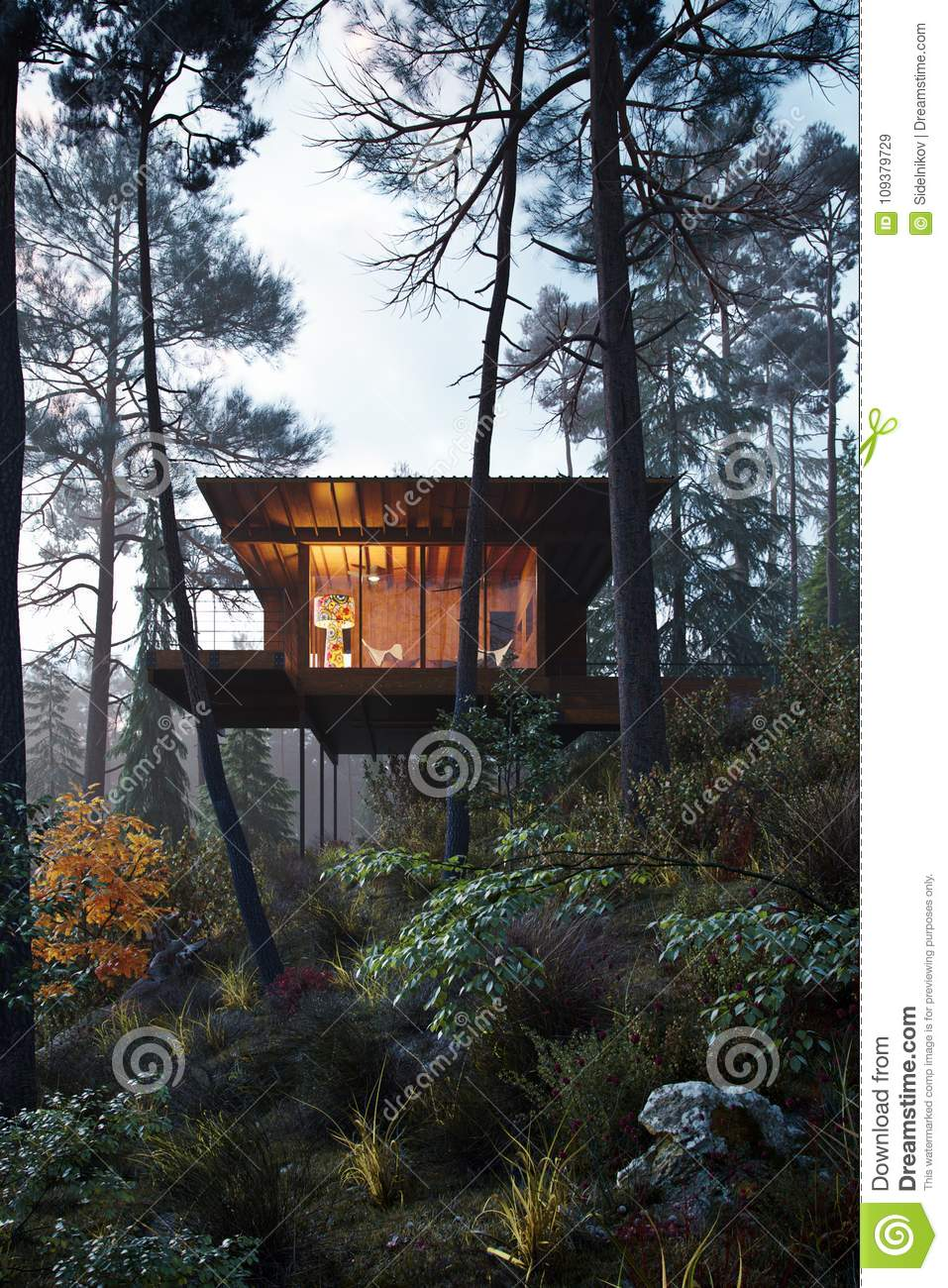 3d Rendering Wooden House Treehouse In Woods Twilight Stock Image Image Of Beams Property 109379729