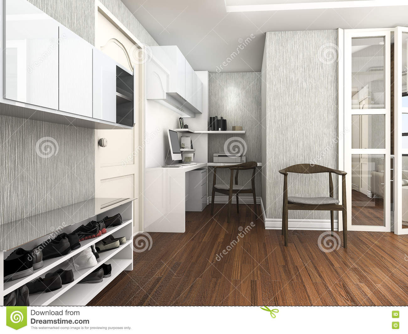 Phenomenal 3D Rendering Working And Living Room With Shoes Cabinet Download Free Architecture Designs Scobabritishbridgeorg