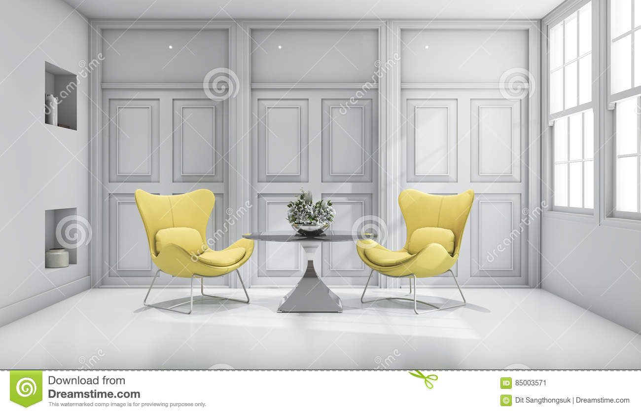 3d Rendering Yellow Design Chair In White Classic Living Room Stock ...
