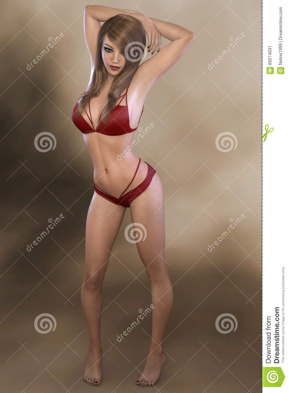 3d Rendering Of Young Woman Royalty Free Stock