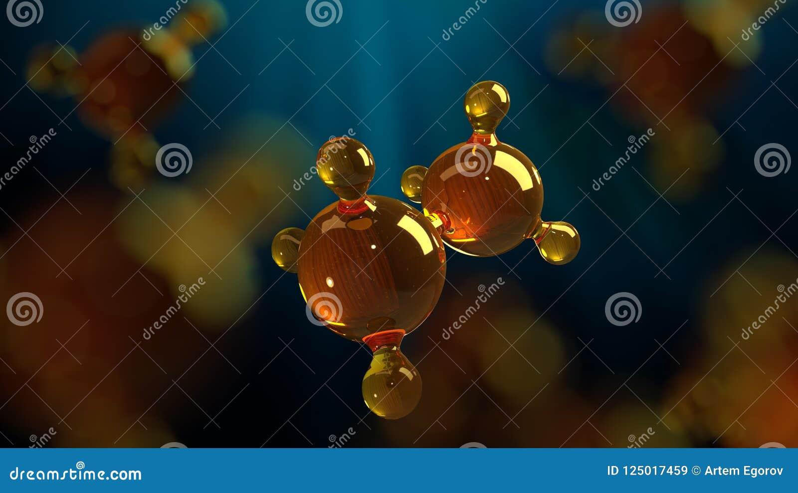 3d renderingu ilustracja szklany molekuła model Molekuła olej Pojęcie struktura modela motorowy olej lub gaz