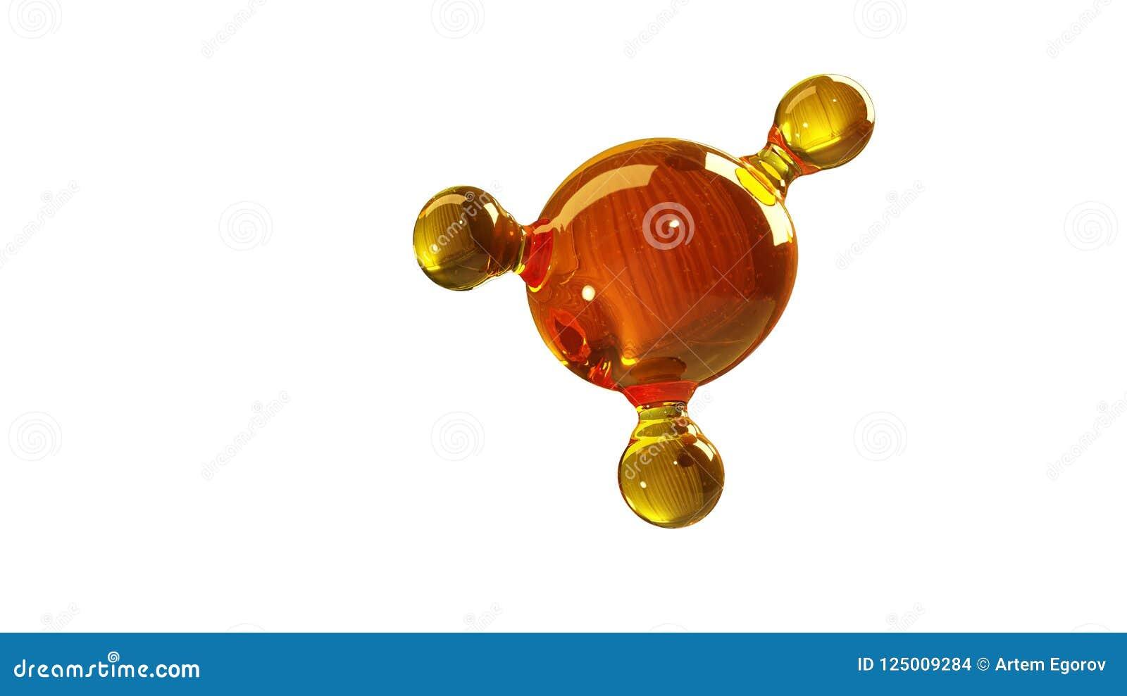 3d renderingu ilustracja szklany molekuła model Molekuła olej Pojęcie struktura modela motorowy olej lub gaz odizolowywający na b